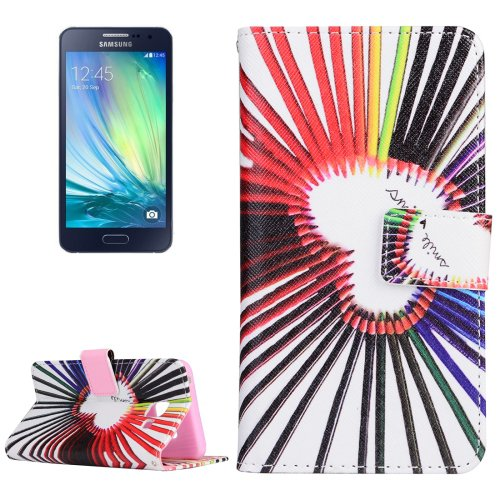 For Galaxy A3(2016) Pencils Pattern Flip Magnetic Leather Case with Holder, Card Slots & Wallet
