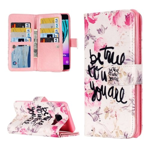 For Galaxy A3(2016) True Pattern Flip Leather Case with 9 Card Slots, Wallet & Holder