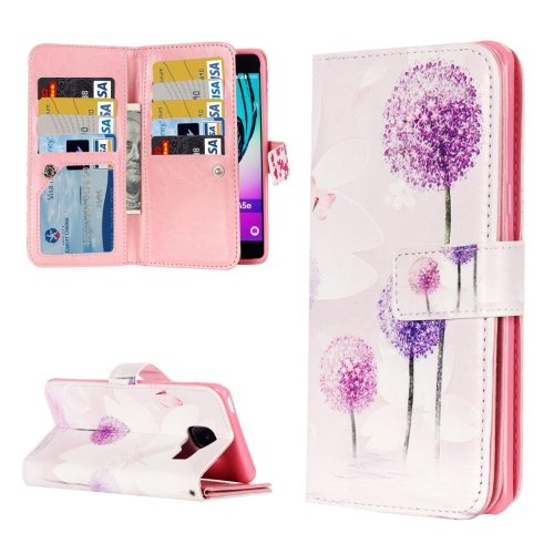 For Galaxy A3(2016) Dandelion Pattern Flip Leather Case with 9 Card Slots, Wallet & Holder