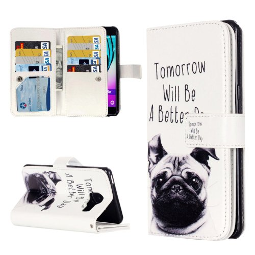 For Galaxy A3(2016) Lapdog Pattern Flip Leather Case with 9 Card Slots, Wallet & Holder