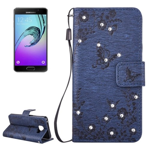 For Galaxy A3(2016) Diamond Butterfly Leather Case with Holder, Card Slots & Wallet - # Colors