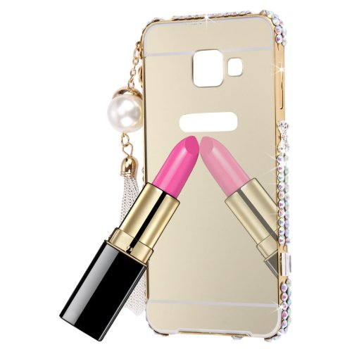 For Galaxy A3(2016) Gold Diamond Encrusted Electroplating Mirror PC Protective Cover Case