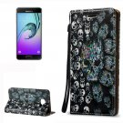 For Galaxy A3(2016) Relief Skull Pattern Flip Leather Case with Holder, Card Slots & Lanyard