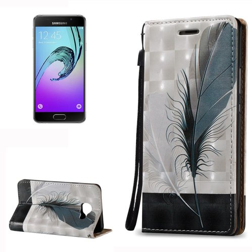 For Galaxy A3(2016) Relief Feather Pattern Flip Leather Case with Holder, Card Slots & Lanyard