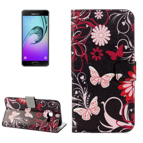 For Galaxy A3(2017) Butterfly Litchi Leather Case with Holder, Card Slots & Wallet - # Colors
