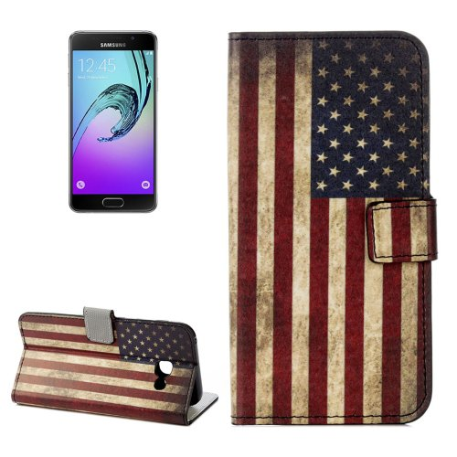 For Galaxy A3(2017) US Flag Litchi Leather Case with Holder, Card Slots & Wallet - # Colors