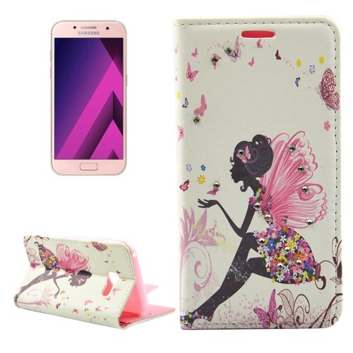 For Galaxy A3(2017) Diamond Girl 1 Leather Case with Holder, Card Slots & Wallet
