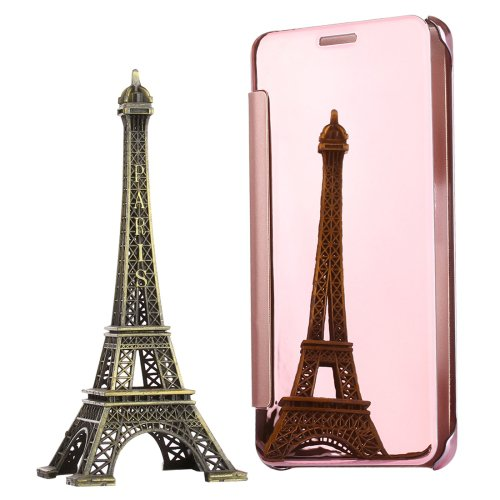 For Galaxy A7(2016) Rose Gold Electroplating Mirror Horizontal Flip Leather Case