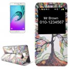 For Galaxy A7(2016) Tree Pattern Flip Leather Case with Call Display ID & Holder