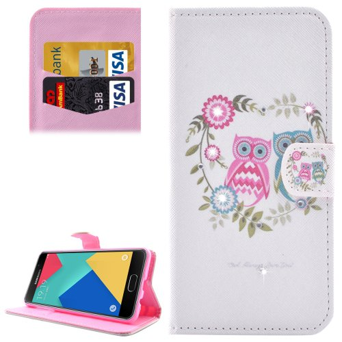 For Galaxy A7(2016) Owl Couples Diamond Flip Leather Case with Holder, Card Slots & Wallet