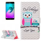 For Galaxy A7(2016) Owls Pattern Leather Case with Holder, Card Slots & Wallet