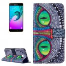 For Galaxy A7(2016) Cheshire cat Pattern Leather Case with Holder, Card Slots & Wallet