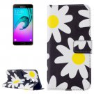 For Galaxy A7(2016) Daisy Pattern Leather Case with Holder, Card Slots & Wallet