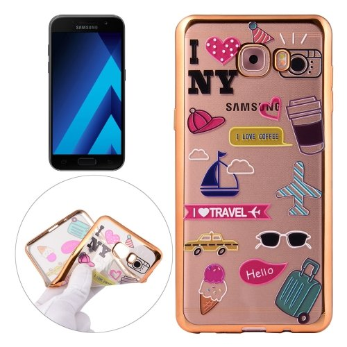 For Galaxy A7(2017) / A720 Group Pattern Electroplating Frame Soft TPU Protective Case