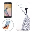 For Galaxy J7 (2017) Butterfly and Girl Pattern Soft TPU Protective Back Cover Case