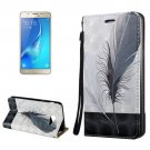 For Galaxy J7 (2017) 3D Relief Feather Flip Leather Case with Holder, Card Slots & Lanyard