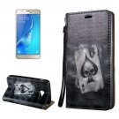For Galaxy J7 (2017) 3D Relief Poker Flip Leather Case with Holder, Card Slots & Lanyard