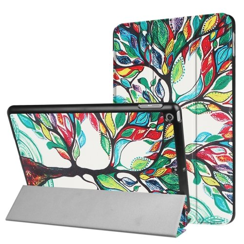 For iPad 9.7 inch 2017 Cross Texture Tree Pattern Leather Case with 3 Folding Holder