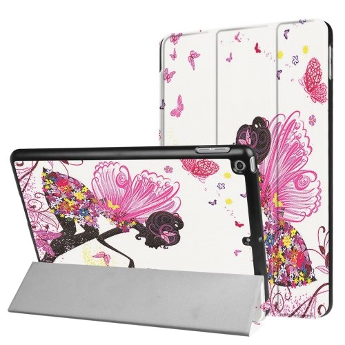 For iPad 9.7 inch 2017 Cross Texture Fairy Pattern Leather Case with 3 Folding Holder