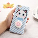 For iPhone 6 + & 6s + 3D Blue Cat Squeeze Relief IMD Squishy Back Cover Case