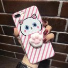 For iPhone 7 Plus Lovely Cat Pattern Squeeze Relief IMD Workmanship Squishy Back Cover Case