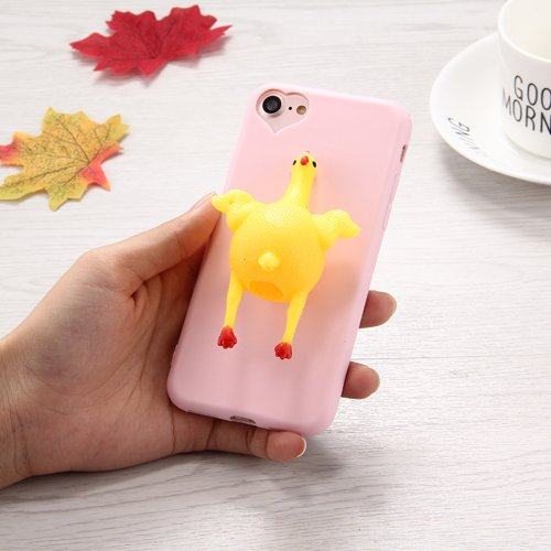 For iPhone 7 3D Chicken Pattern Squeeze Relief Squishy Drop proof Back Cover Case