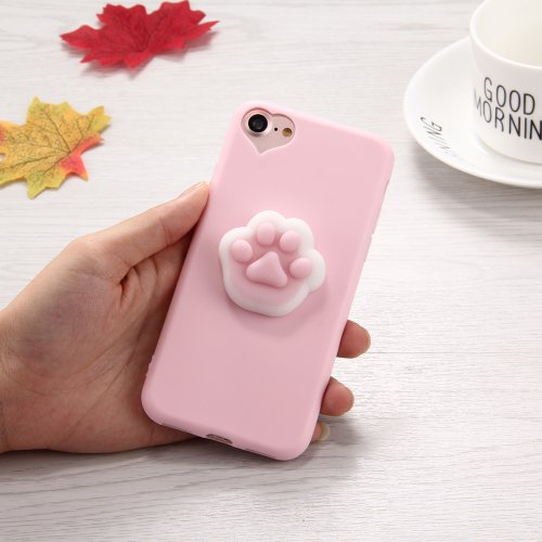 For iPhone 7 3D Paw Print Pattern Squeeze Relief Squishy Drop proof Back Cover Case