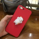 For iPhone 7 3D Red Lovely Cat Cartoon Pattern Squeeze Squishy Back Cover Case