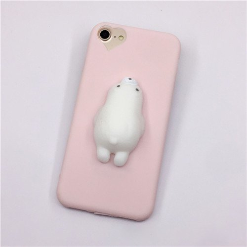 For iPhone 7 3D Pink Bear Pattern Squeeze Relief TPU Squishy Back Cover Case