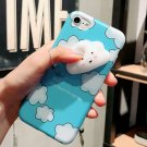 For iPhone 7 3D Lovely Blue Cloud Pattern IMD Workmanship Squishy Back Cover Case