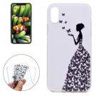 For iPhone 8 Butterfly and Girl Pattern TPU Protective Case