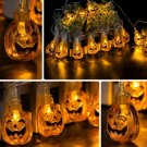 7.5M 30 LED Solar Energy Pumpkin String Lights Halloween Party Orange Color