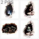 2 PCS Creative 3D Horror Ghost Wall Stickers Halloween, Random Style Delivery