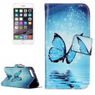 For iPhone 8+&7+ Blue Butterfly Leather Case with Holder, Card Slots & Wallet