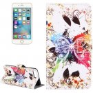 For iPhone 8+&7+ Crystal Butterfly Leather Case with Holder, Card Slots & Wallet