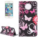 For iPhone 8+&7+ Pink Butterfly Leather Case with Holder, Card Slots & Wallet