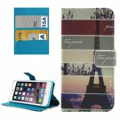 For iPhone 8+&7+ Eiffel Tower Leather Case with Holder, Card Slots & Wallet