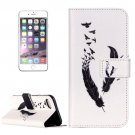 For iPhone 8+&7+ Feather Pattern Leather Case with Holder, Card Slots & Wallet