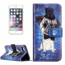 For iPhone 8+&7+ Dog & Hat Pattern Leather Case with Holder, Card Slots & Wallet