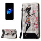 For iPhone 8+&7+ 3D Relief Fairy Leather Case with Holder, Card Slots & Lanyard
