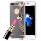 For iPhone 8+&7+ Electroplating Mirror TPU Case & Bowknot Chain Pendant - 4 colors