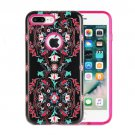 For iPhone 8+ & 7+ Double Flower Pattern TPU + PC Relief Combination Case