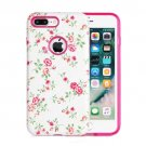 For iPhone 8+ & 7+ Fresh Flower Pattern TPU + PC Relief Combination Case