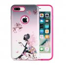 For iPhone 8+ & 7+ Butterfly Girl Pattern TPU + PC Relief Combination Case