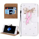 For iPhone 8+ & 7+ Bowknot Diamond Magnetic Leather Case with Holder, Card Slots