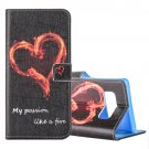 For Galaxy Note 8 Heart Pattern Leather Case with Holder, Card Slots & Wallet