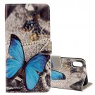 For iPhone X Butterfly Pattern Flip Leather Case with Holder, Card Slots & Wallet