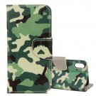 For iPhone X Camouflage Pattern Flip Leather Case with Holder, Card Slots & Wallet