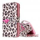 For iPhone X Leopard Flip Leather Case with Holder, Card Slots & Wallet