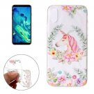 For iPhone X Flower Unicorn Pattern TPU Protective Case